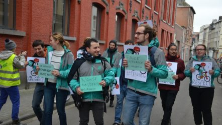 Deliveroo riders in Brussels protest
