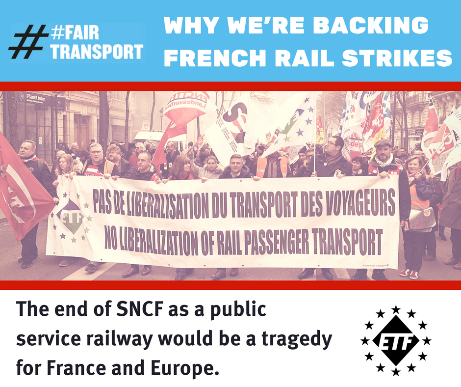 Graphic showing ETF representatives at French rail protest